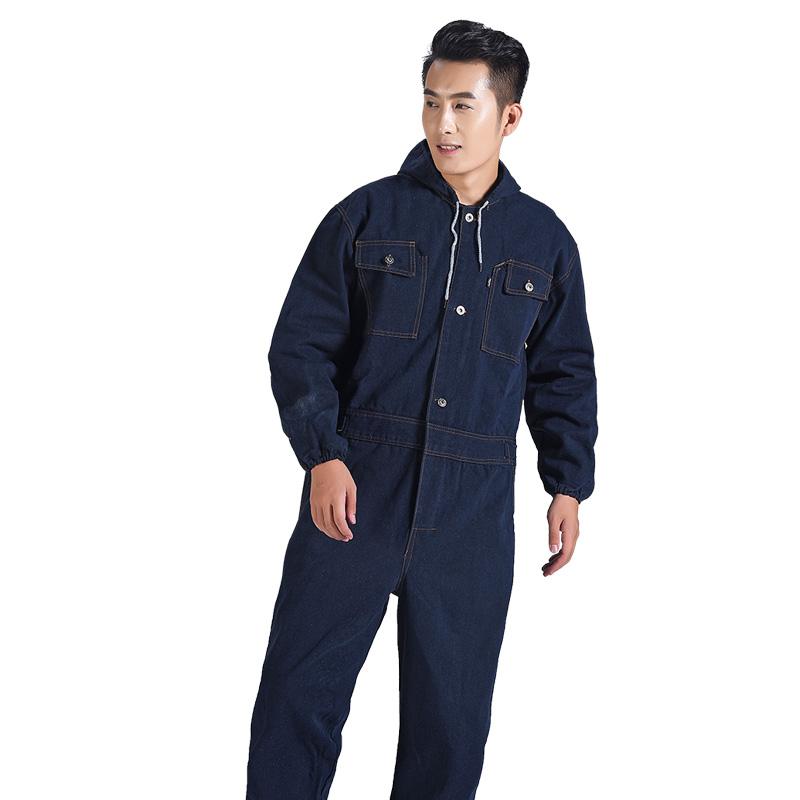 防烫牛仔连体服工作服带帽电焊耐高温防尘服纯棉防护服大褂劳保衣
