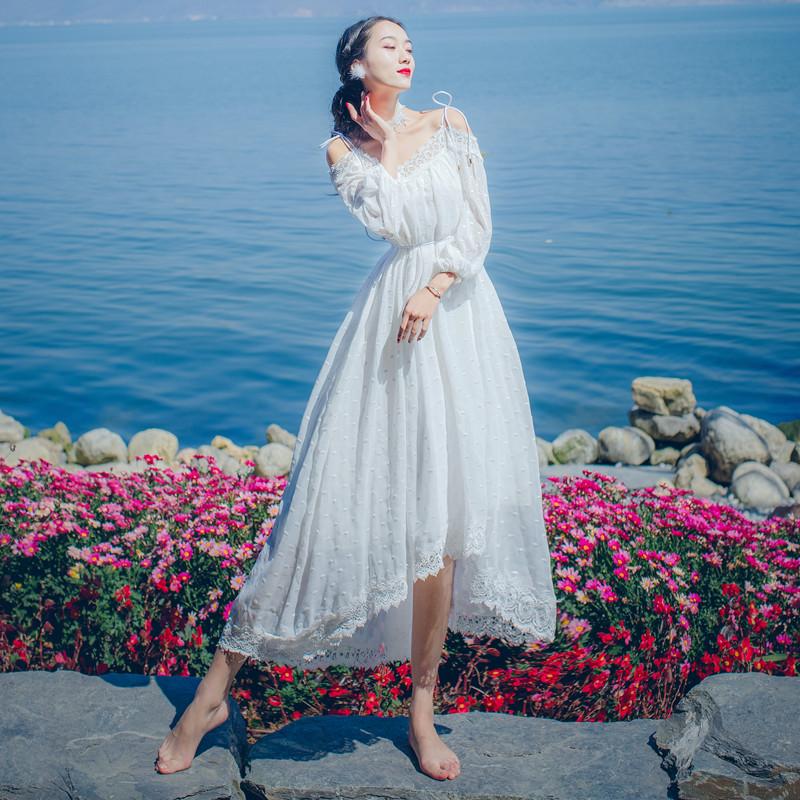新款蕾丝吊带连衣裙女夏季长袖雪纺一字领肩仙女复古森女长裙仙气
