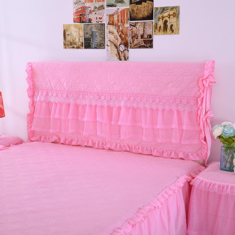 全棉床头套防尘罩 韩版夹棉蕾丝床头罩 皮床靠背保护套软包罩布艺