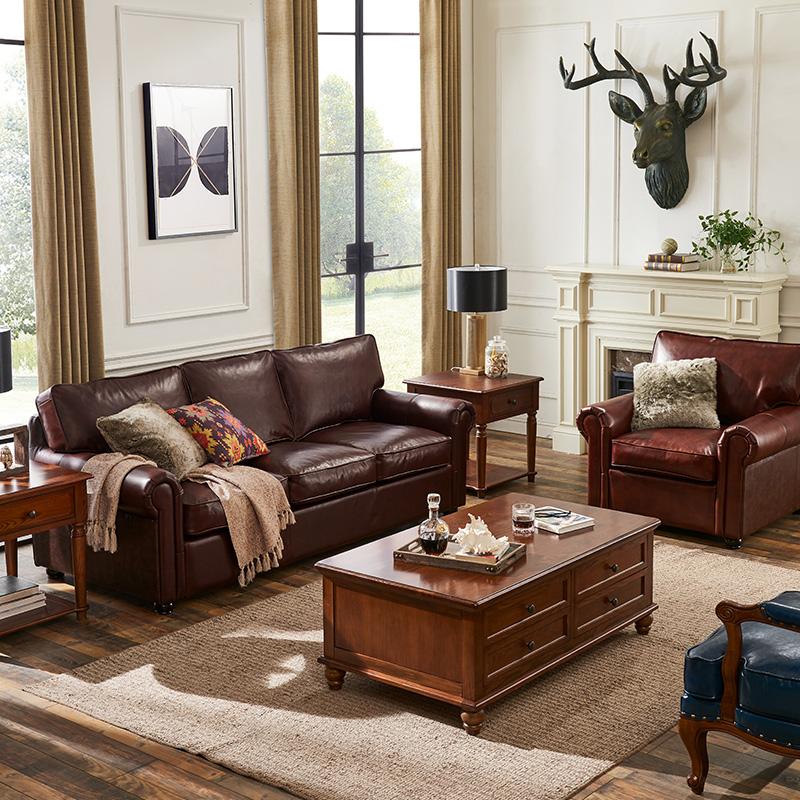 意舍美式真皮沙发牛皮艺沙发1+2+3组合沙发大小户型客厅家具沙发
