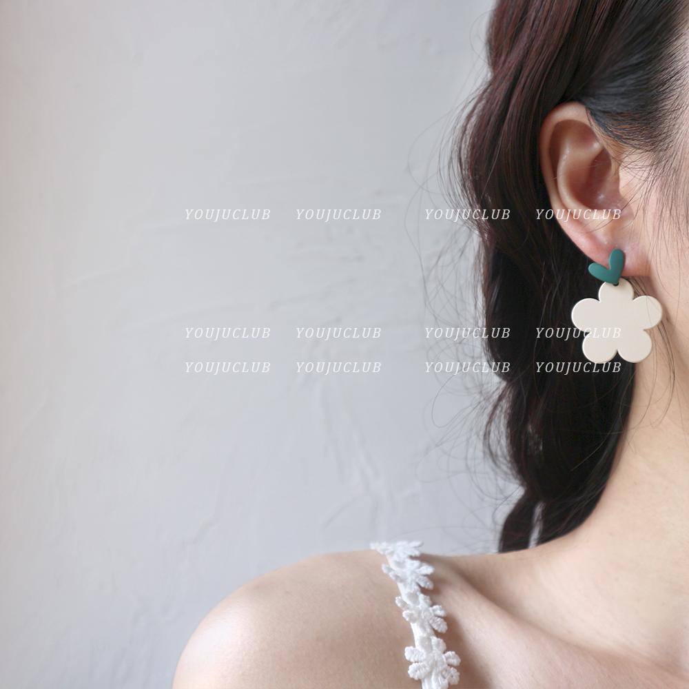 YOUJUclub-芝士抹茶少女 甜美撞色爱心花朵耳环花瓣可爱耳钉耳夹