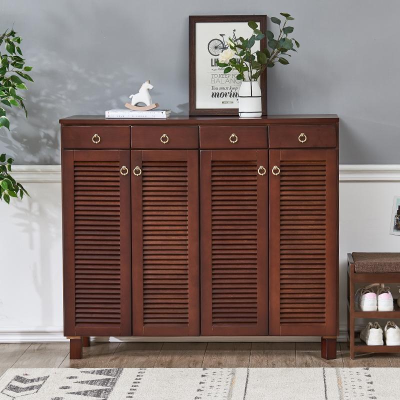 家逸实木鞋柜简约现代门厅柜多层家用大容量对开门玄关柜门口鞋柜