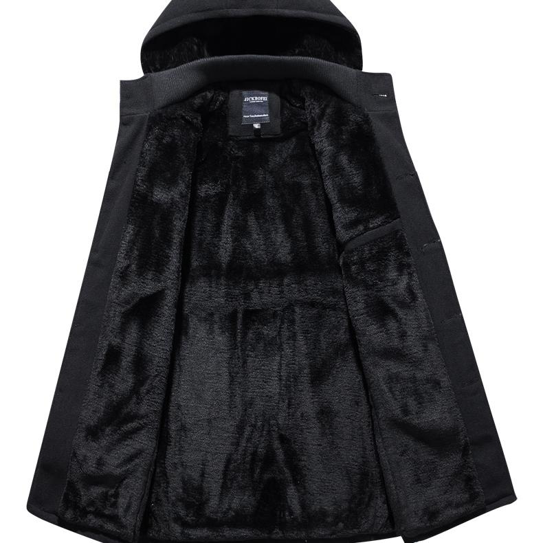 冬季风衣男中长款韩版青年呢子大衣加绒加厚帅气百搭新款保暖外套