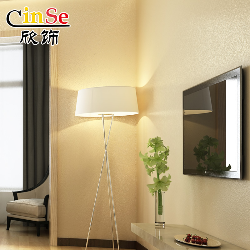 立体蚕丝素色北欧卧室墙纸客厅壁纸欧式简约现代背景墙 3D 欣饰纯色