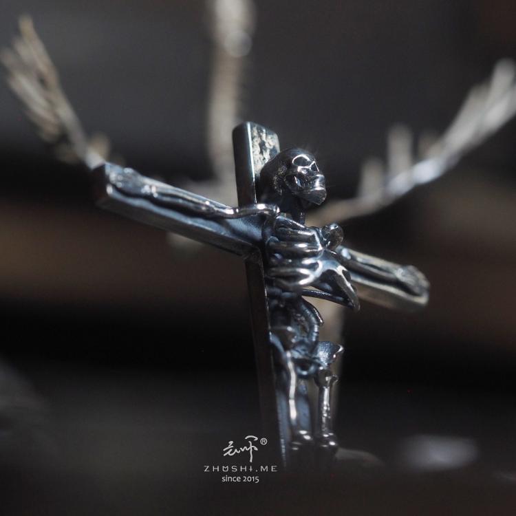 暗黑十字架吊坠项链 S925  主师原创 上帝之死纯银耶稣骷髅订制骨架
