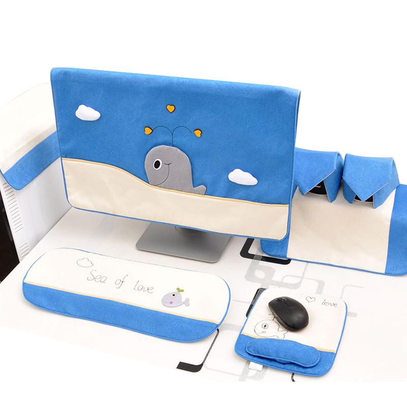 电脑罩电脑套可爱布艺台式电脑防尘罩一体机保护套液晶显示器盖布