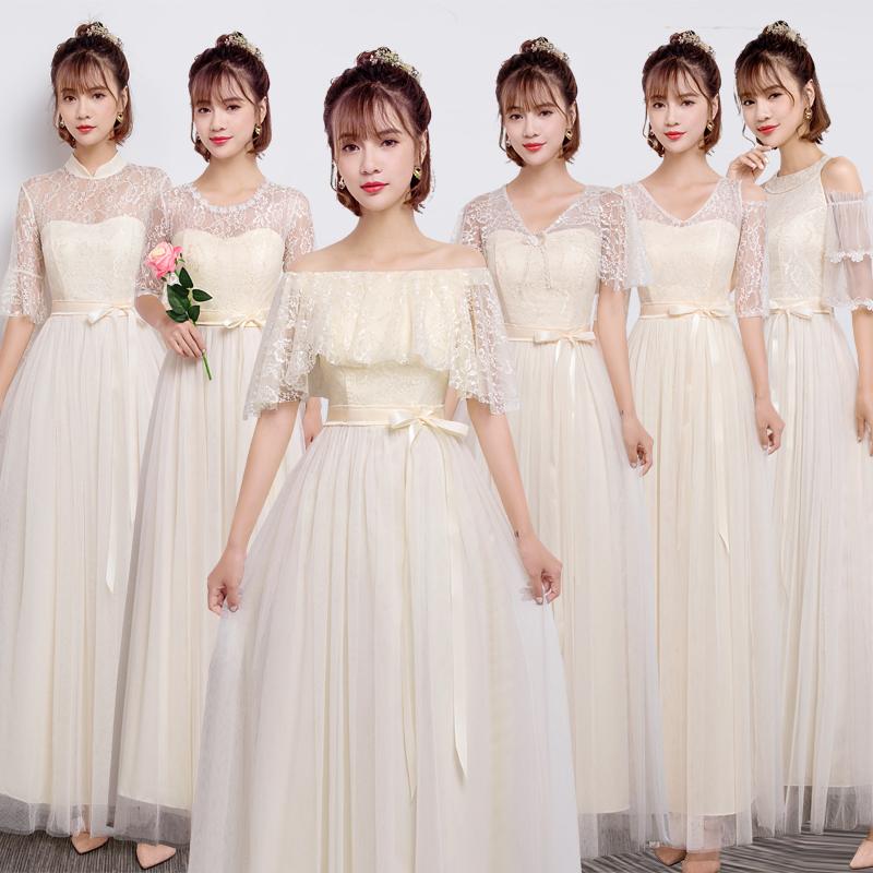 2018新款伴娘礼服女韩版姐妹团伴娘服长款表演主持灰色显瘦一字肩