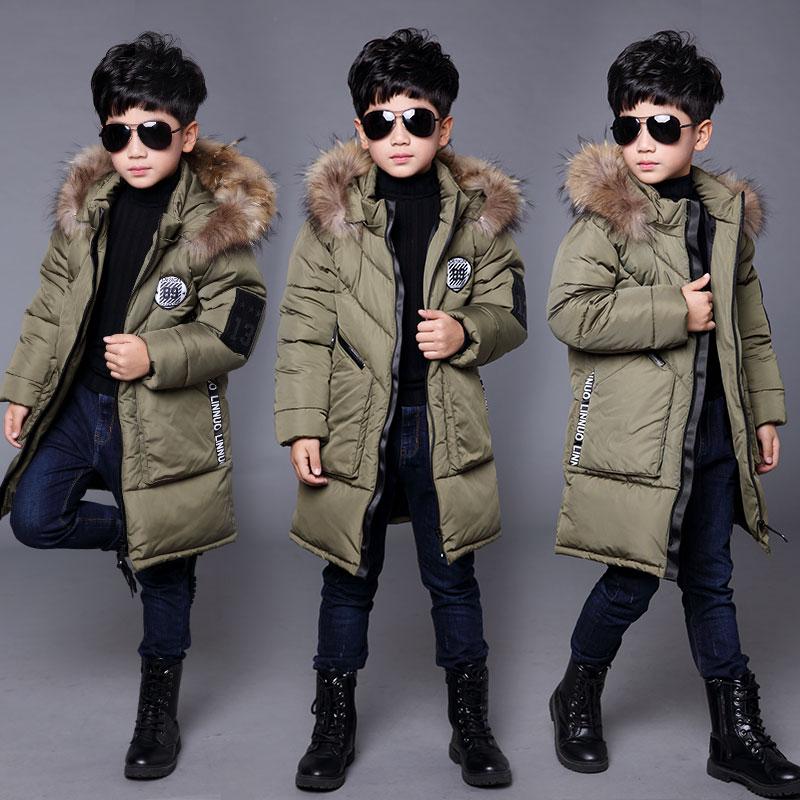 童装男童棉服中长款2018新款冬装棉衣儿童毛领棉袄男孩加厚外套潮