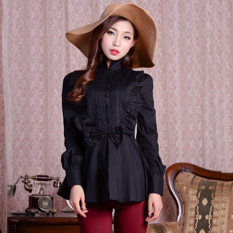 黑纯棉衬衫女秋装长袖外穿2019年新款百搭设计感小众原创设计女装