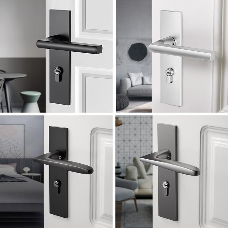 卡贝门锁室内卧室静音房门锁黑色卫生间实木门把手家用通用型锁具