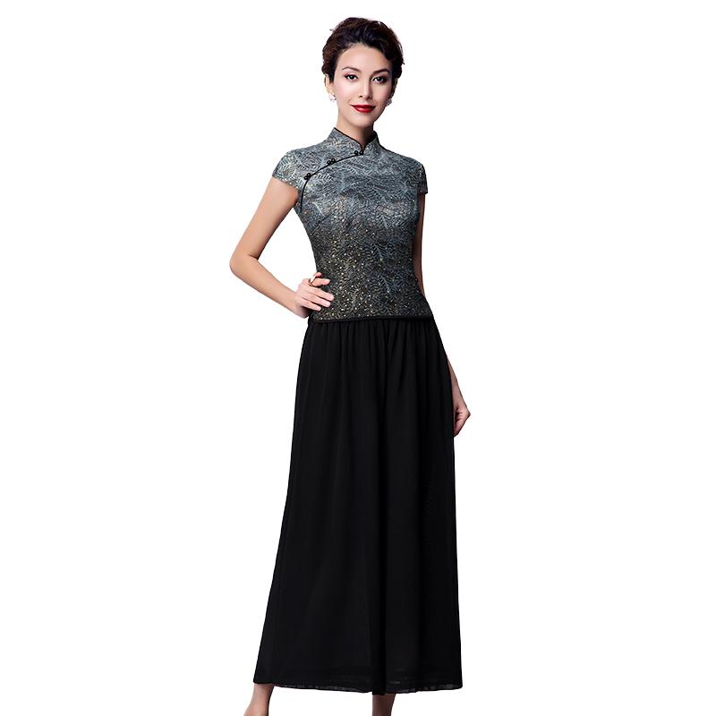 名兰世家夏时尚新款雪纺阔腿裤两件套妈妈休闲改良旗袍上衣套装