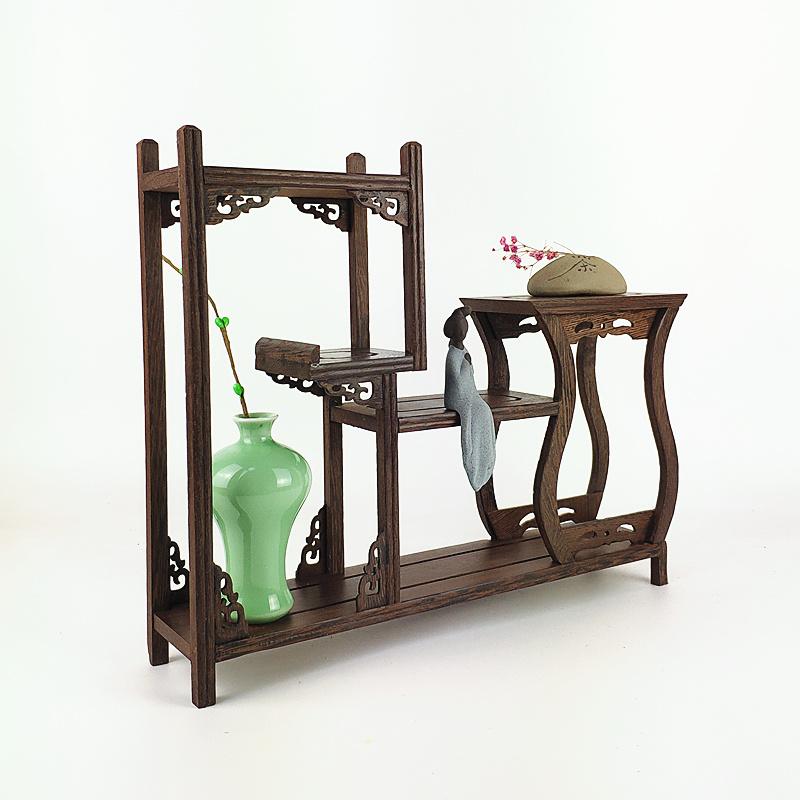 红木博古架小型多宝阁鸡翅木茶具架实木置物架茶壶架子展