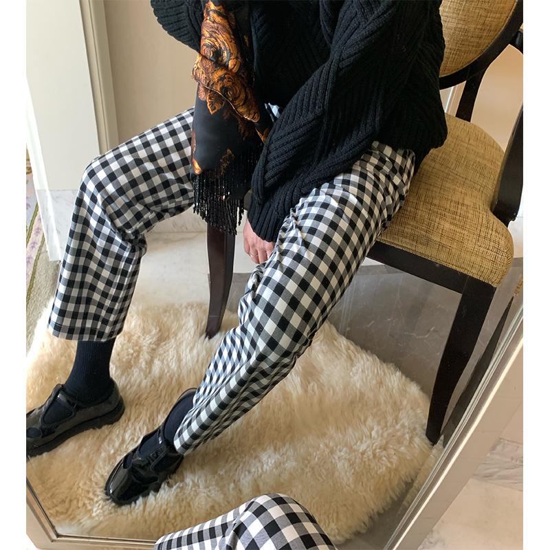 落落狷介 裤子女秋冬宽松高腰直筒黑白格子裤女复古垂感显瘦长裤高清大图