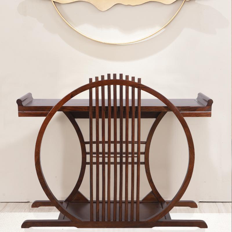 新中式玄关桌实木玄关台靠墙条案禅意原木供桌老榆木条案几端景台
