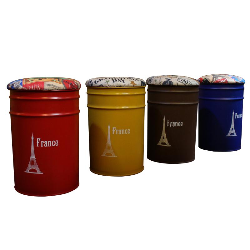 美式复古酒吧椅油桶凳油漆桶吧台凳子 圆形铁皮桶储物凳创意桶凳