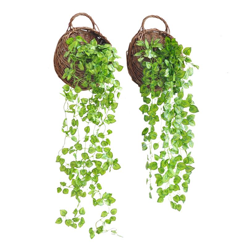 仿真花藤仿真绿植绿萝壁挂家居客餐厅吊篮墙面装饰植物墙饰藤条