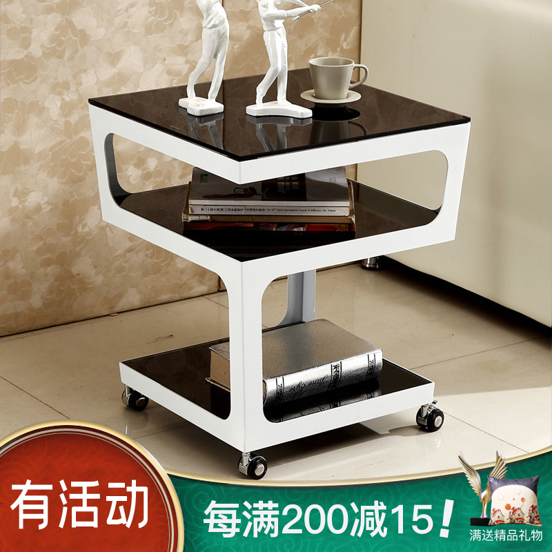 簡約現代沙發角幾金屬鋼化玻璃多層白色邊桌邊幾電話幾方形小茶几