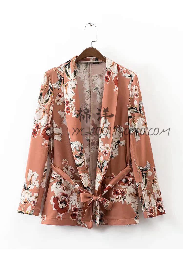 欧美单女士花卉印花腰带西装西服外套时尚微阔宽松裤子套装两件套