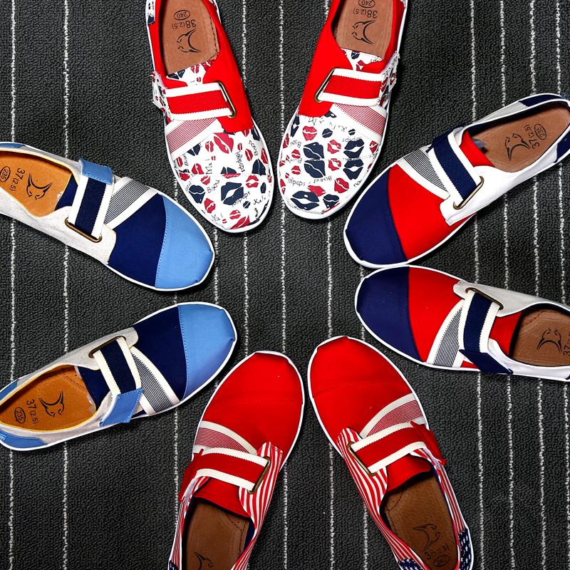 咪呢咔韩版夏扣带坡跟帆布鞋摇摇鞋女厚底松糕女鞋魔术贴单鞋布鞋