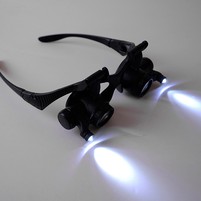 博视乐眼镜式头戴放大镜双目带灯修理钟表10倍15倍20倍25倍