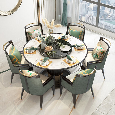 New Chinese Solid Wood Dining Table And Chair Combination Modern Minimalist Round Table Rice Table 8
