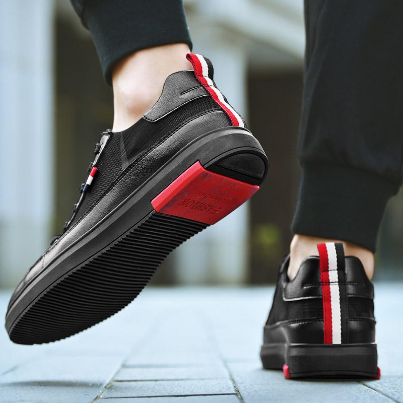 夏季新款男士休闲鞋子黑色运动板鞋韩版潮流皮鞋百搭透气布鞋 2019