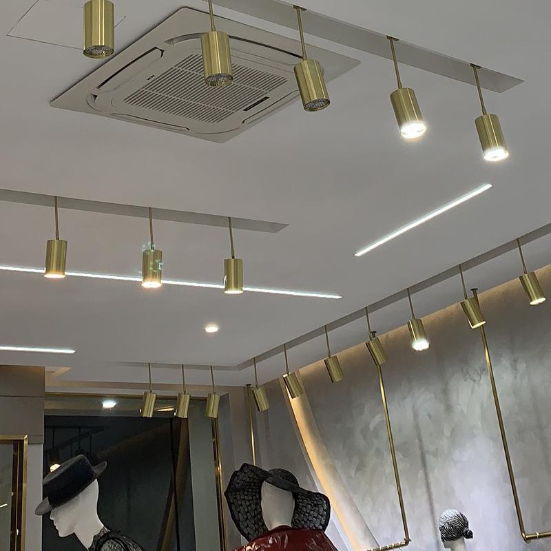 灯商用超亮聚光明装金色小射灯