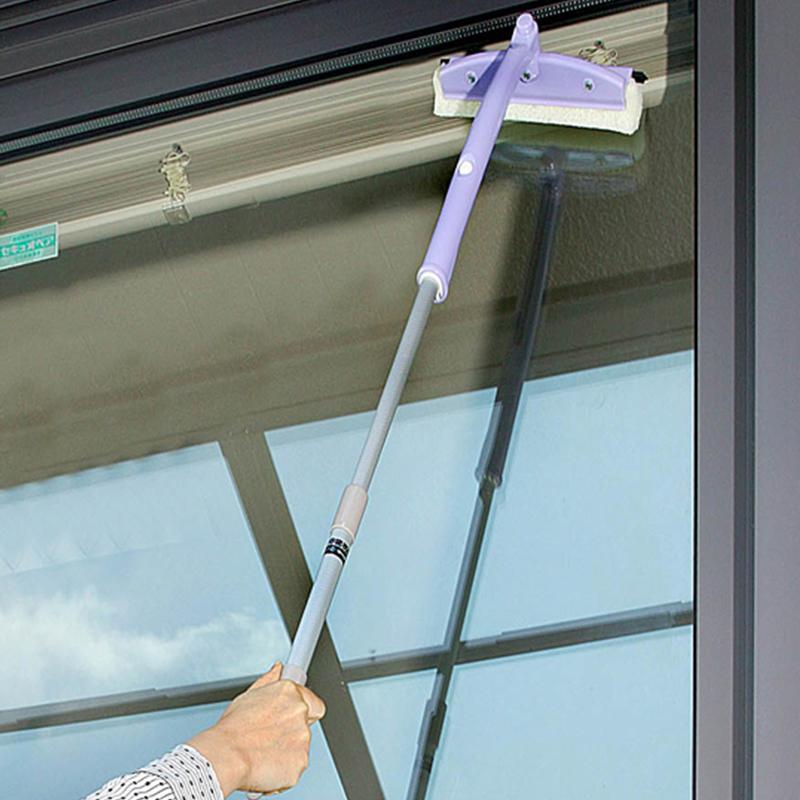 日本進口可伸縮杆玻璃清潔器旋轉刷頭長柄玻璃刮擦窗器家用清潔刷