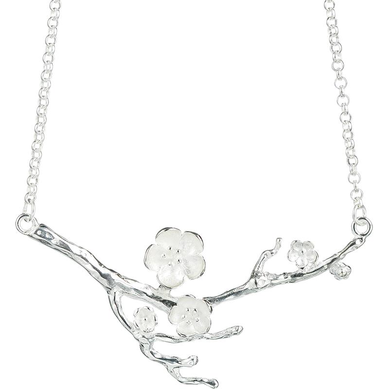 艺圃原创设计 中国风手工银饰S925纯银梅花项链包邮送女朋友礼物