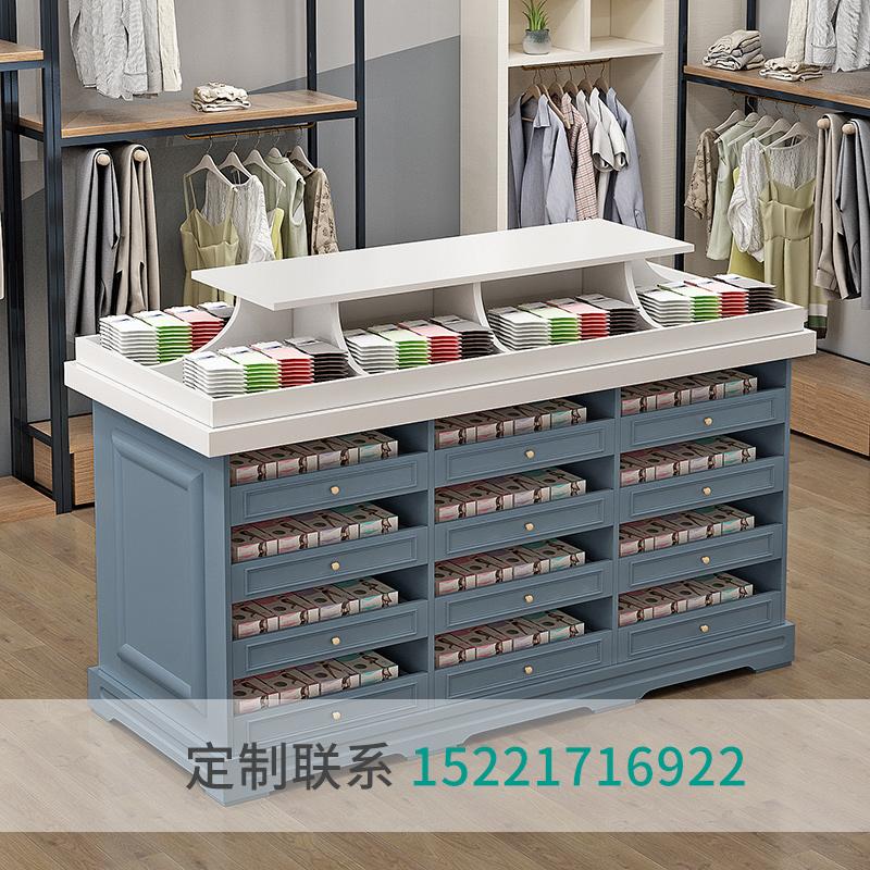 木制烤漆内裤展示柜内衣店柜台双面中岛货架袜子展柜袜子陈列柜