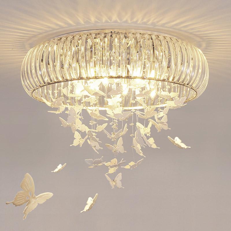 蝶恋花led卧室吸顶灯客厅餐厅温馨浪漫少女儿童房简约现代水晶灯