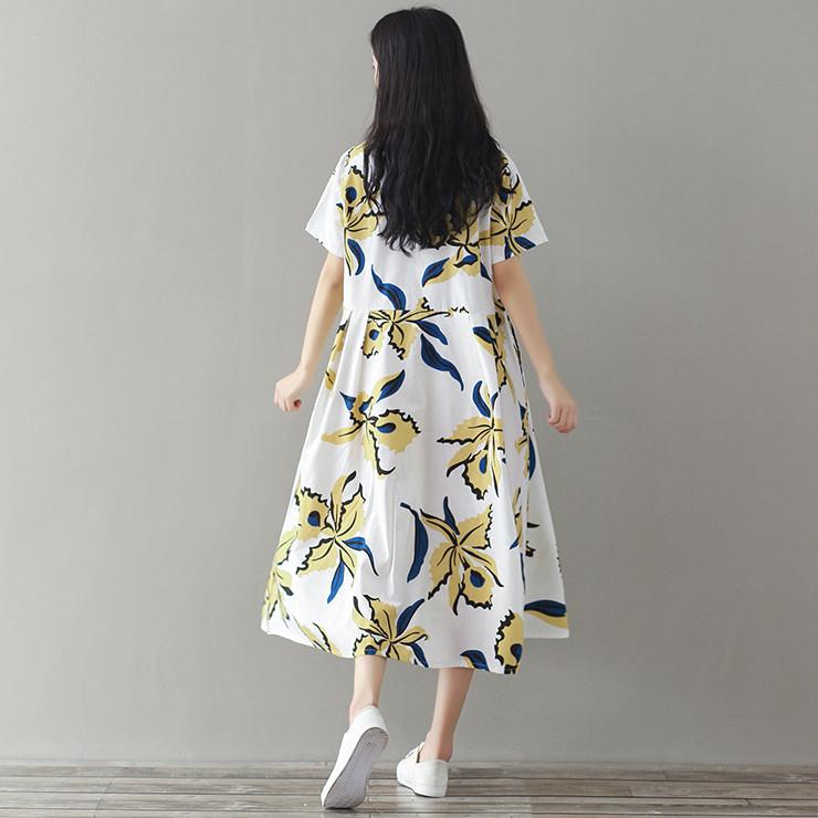 怀孕期孕妇夏装上衣女宽松短袖棉麻衬衫连衣裙波西米亚长裙200斤