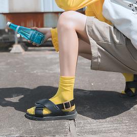 中长袜子女中筒袜夏季超薄款春秋ins潮糖果色彩色堆堆袜夏天长筒
