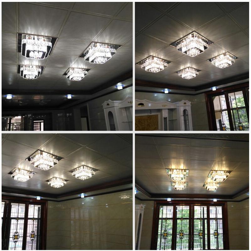 二级顶欧式拼花组合 300 450 集成吊顶客厅卧室铝扣板专用水晶灯 LED