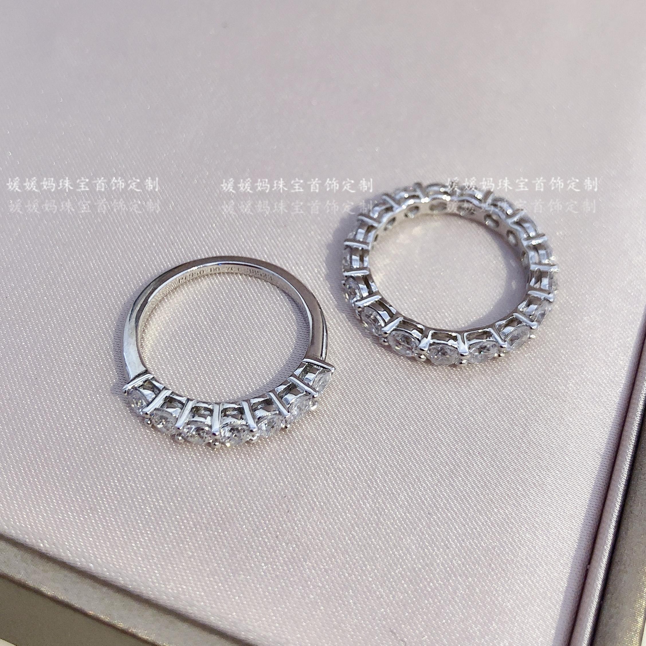 礼物 CHIC 分高碳钻戒指钻戒副戒小众 10 钻 18K7 纯银 925 分排钻戒指 20