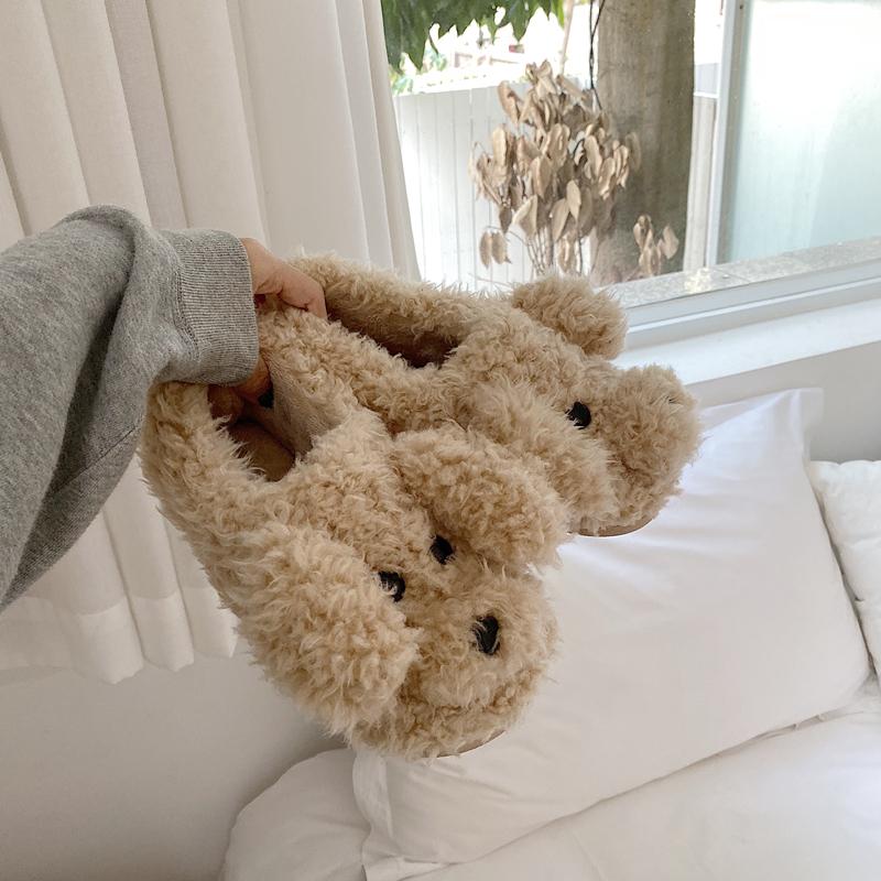 棉拖鞋女全包跟可爱卡通少女心室内防滑保暖毛绒居家鞋冬 细细条