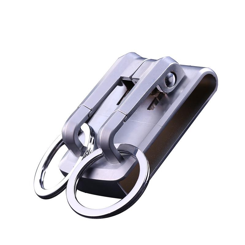 jobon中邦汽车钥匙扣创意穿皮带腰挂简约双环钥匙挂件男礼品刻字