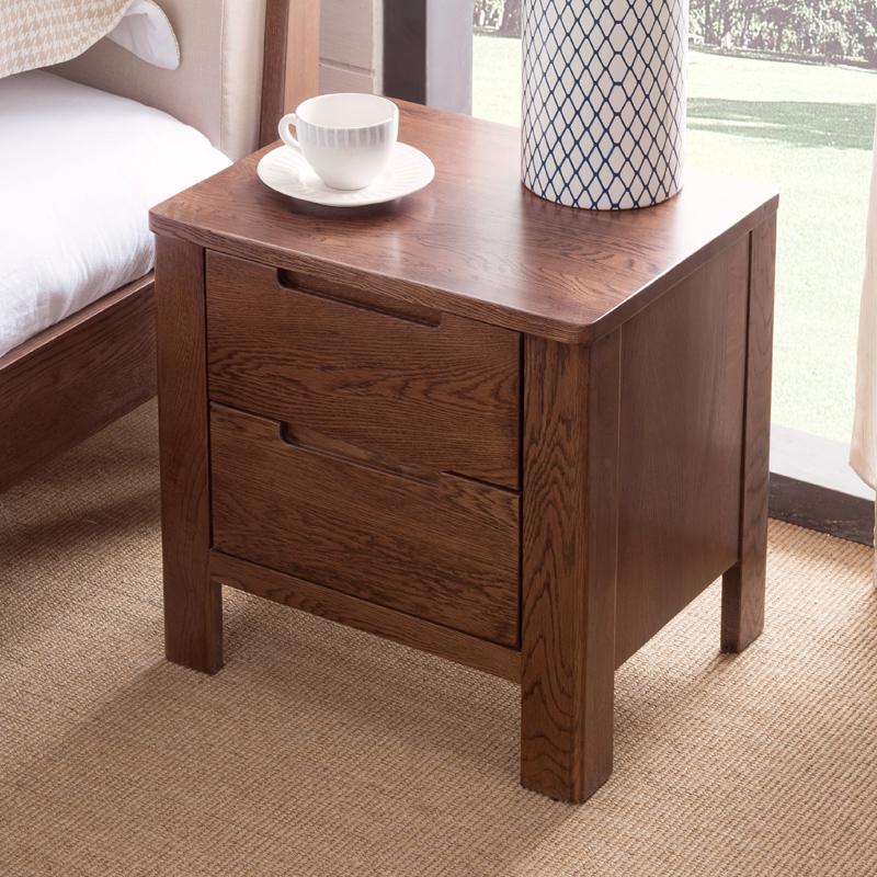 源氏木语纯实木床头柜橡木两抽小收纳柜子北欧简约环保储物柜卧室