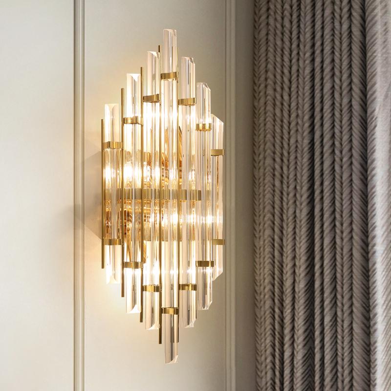 后现代水晶壁灯客厅背景墙装饰灯玄关过道灯简约创意卧室床头灯