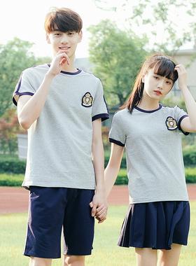 老师园服幼儿园夏季短袖韩版初高中学院风班服运动服幼师校服套装
