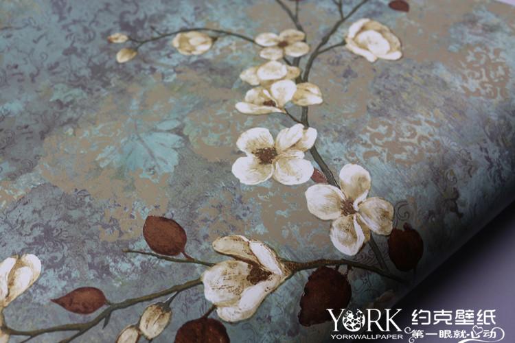 新中式 美式复古怀旧 客厅电视背景墙 壁纸 YORK 美国进口约克墙纸
