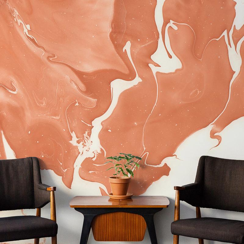 戈黎斯 墨流 电视背景墙纸现代中式写意泼墨客厅书房壁纸定制壁画