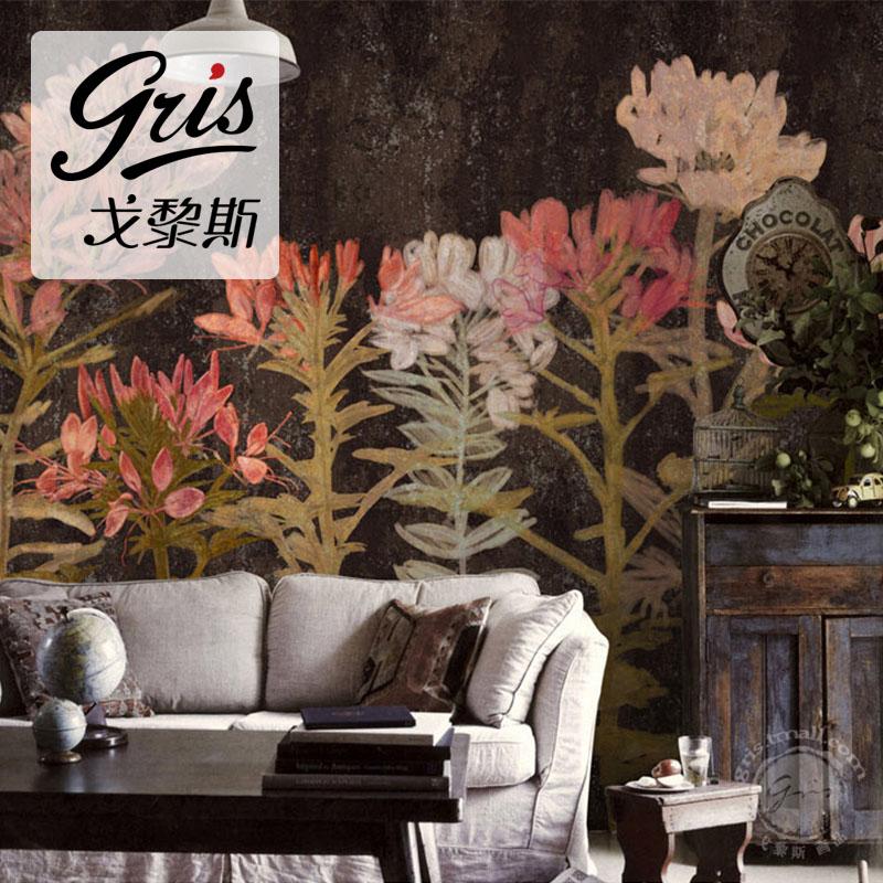 戈黎斯醉蝶花美式田园无缝定制壁画客厅卧室电视背景墙纸壁纸温馨