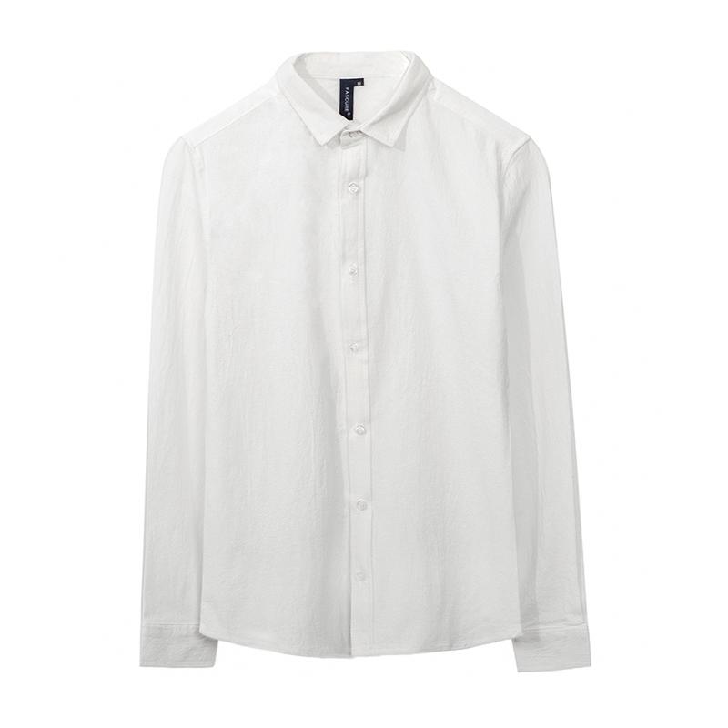 秋季白衬衫男长袖 白色休闲男士小领修身衬衣潮流韩版ins学院风