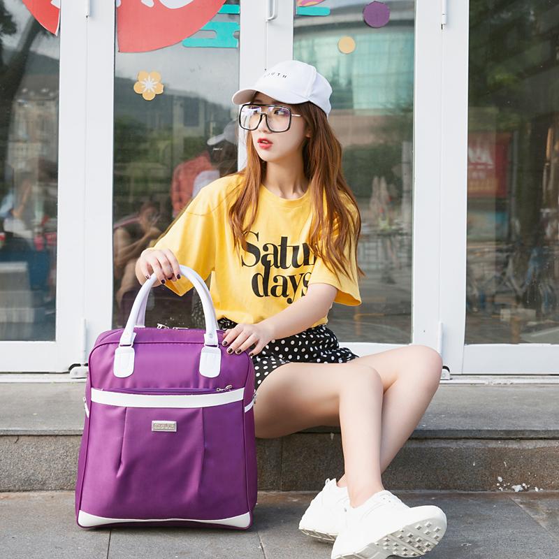 旅行包女手提韩版短途轻便潮简约妈咪旅游防水牛津布斜挎小行李袋