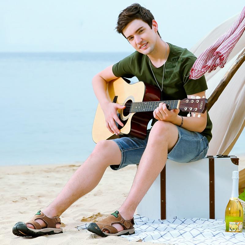 骆驼男鞋真皮休闲包头凉鞋夏季魔术贴户外潮流沙滩鞋防滑凉拖