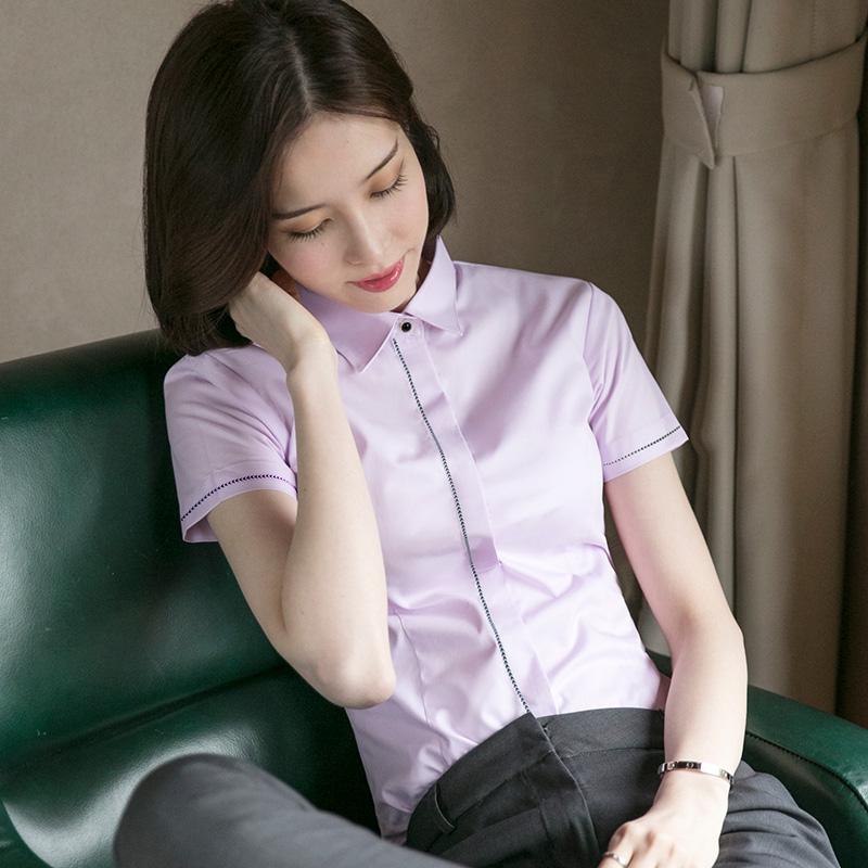 2021新款职业白衬衫女短袖时尚洋气条纹工作服衬衣早春装夏季上衣主图