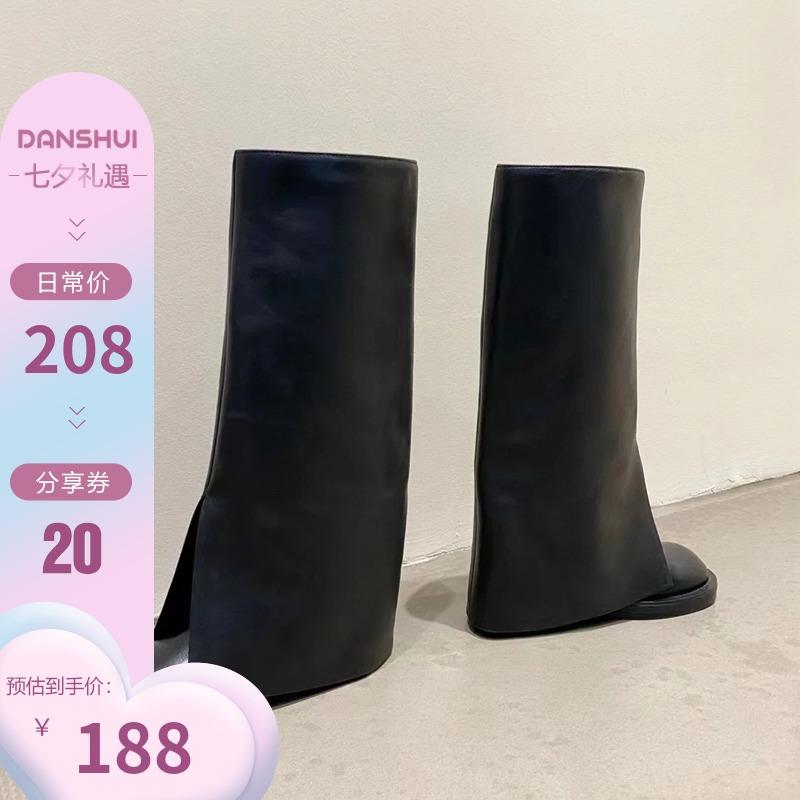 2021秋季新款不过膝高筒骑士靴长靴女方头裤管靴黑色粗跟套筒女靴