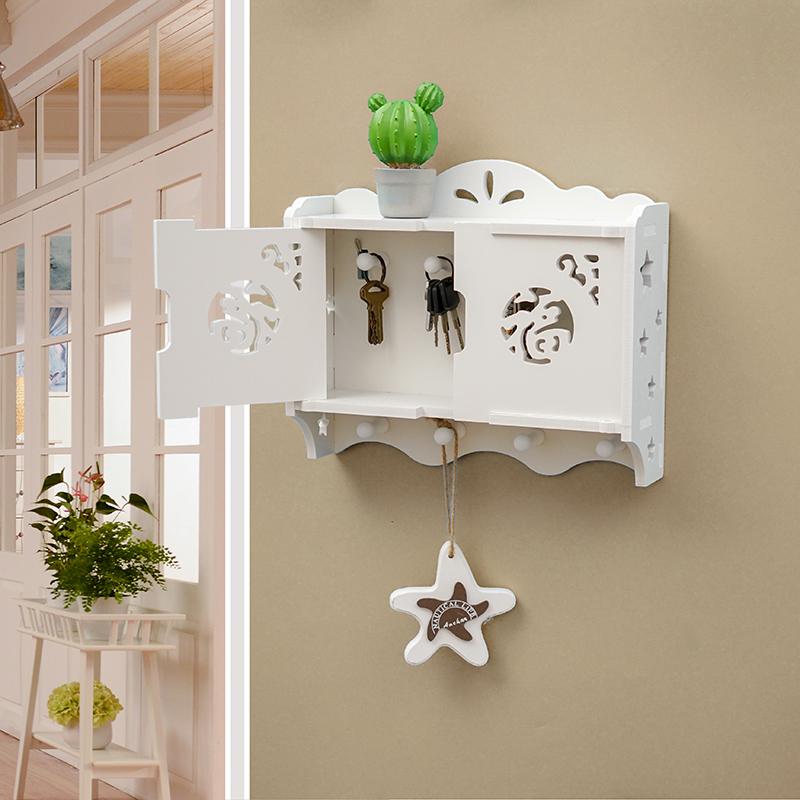 简约现代墙上置物架挂钩免打孔客厅装饰架墙壁挂钥匙收纳