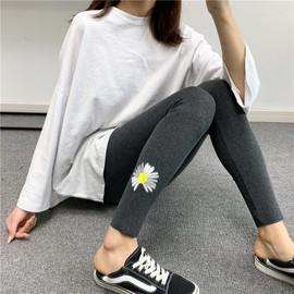 2020韩版打底裤女外穿春秋款薄款春季小雏菊灰色网红九分紧身显瘦